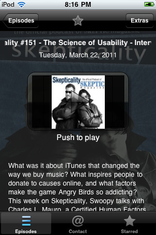 Skepticality Mobile Play Screen